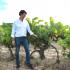 Winzer Luis Sáenz vor Weinrebe, La Rioja